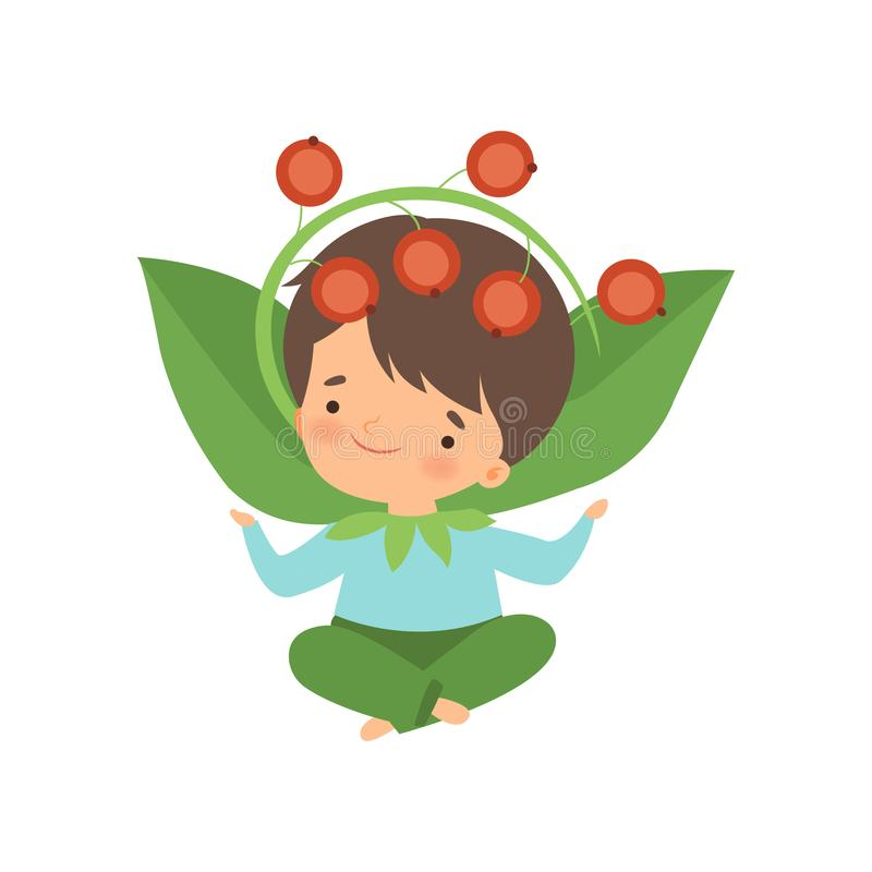 O traje vestindo do arando da menina bonito, personagem de banda desenhada adorável da criança no carnaval veste a ilustração do  ilustração stock