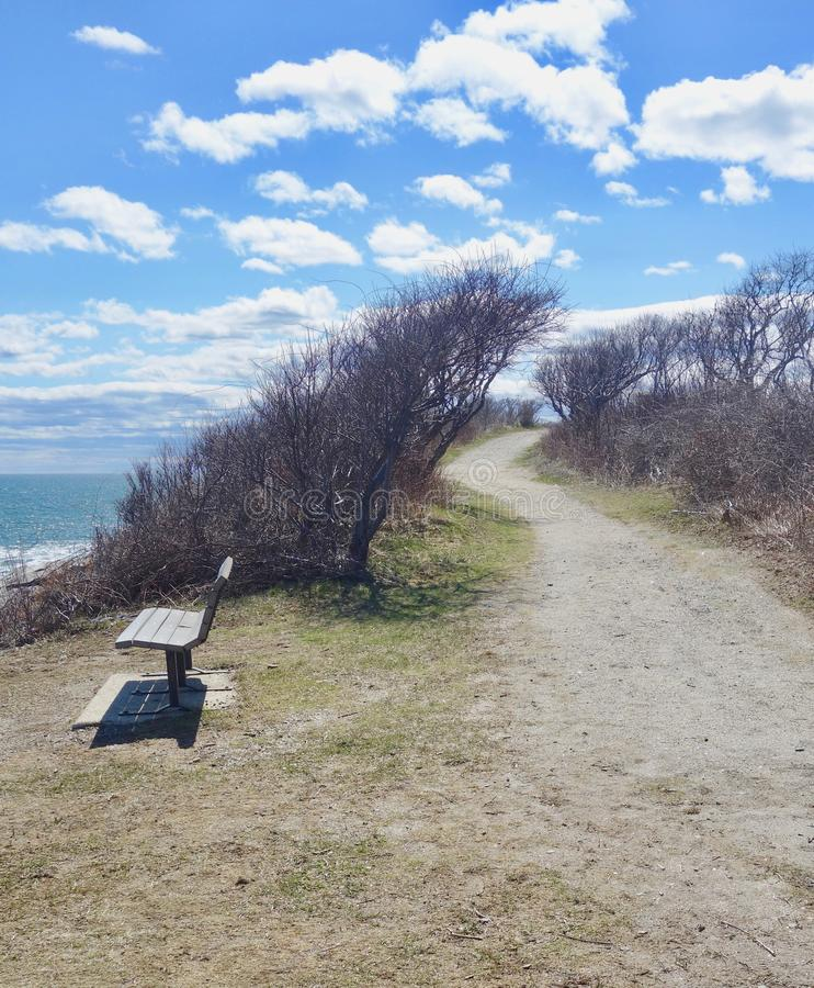 O trajeto do cascalho meandra através da vegetação do beira-mar em um dia ensolarado fotografia de stock