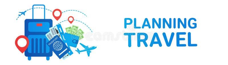 O transporte da rota da excursão da mala de viagem da bandeira do curso do planeamento do feriado Tickets o conceito ilustração do vetor