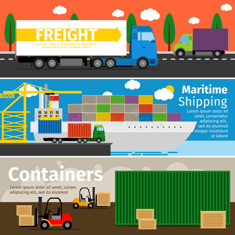 O transporte dos bens e a entrega por bandeiras horizontais lisas dos recipientes de carga dos caminhões vector a ilustração ilustração royalty free