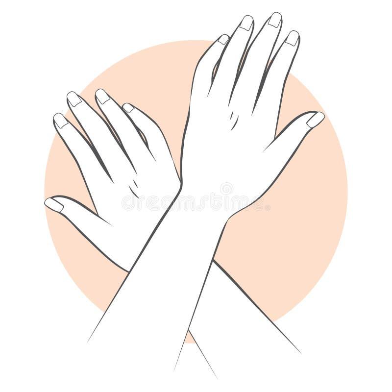 O tratamento de mãos entrega o cuidado ilustração stock