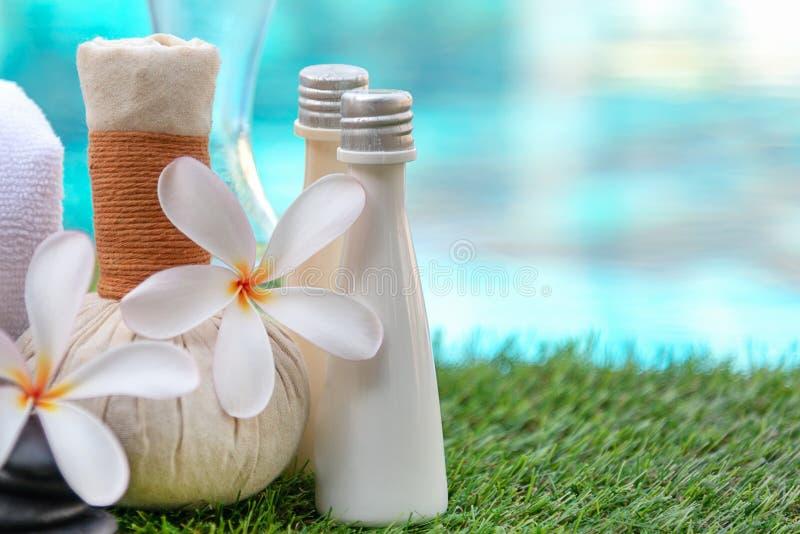 O tratamento e a massagem da flor dos termas do plumeria do Frangipani, relaxam e cuidado saudável TERMAS tailandeses fotografia de stock royalty free
