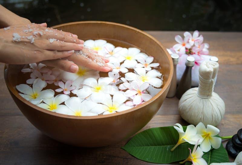 O tratamento e o produto dos termas para os pés e o tratamento de mãos fêmeas pregam termas, imagens de stock royalty free
