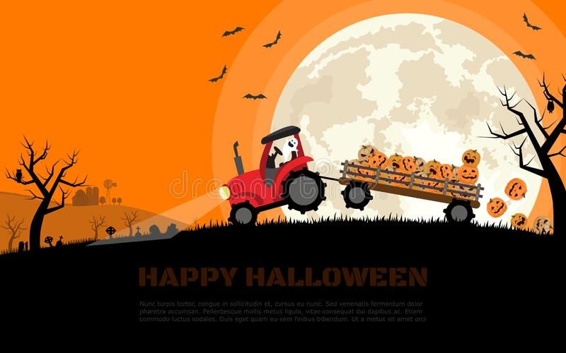 O trator carregando abóboras sorridentes de Halloween no trailer com fundo de cemitério, fazenda e lua cheia Vetor de desenho pla ilustração stock