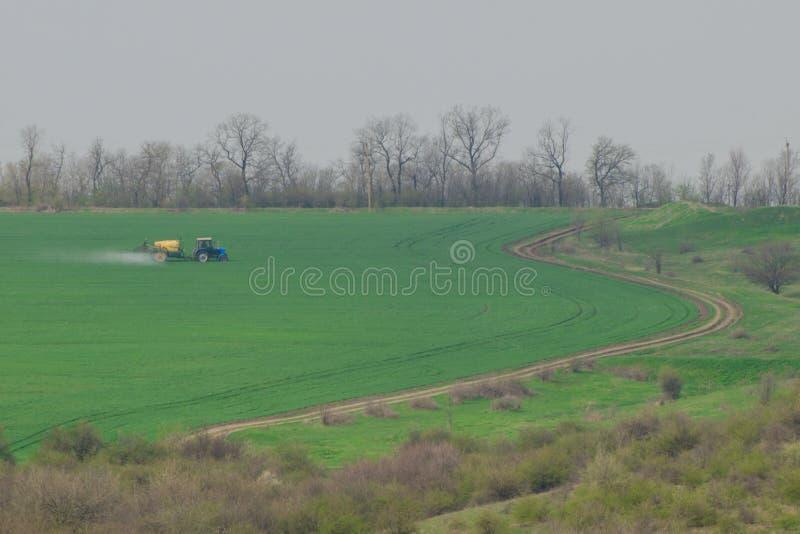 O trator cultiva colheitas no campo na mola fotografia de stock royalty free