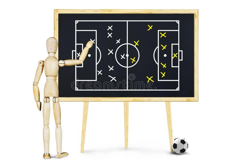 O treinador de futebol explica o plano para o jogo imagens de stock royalty free