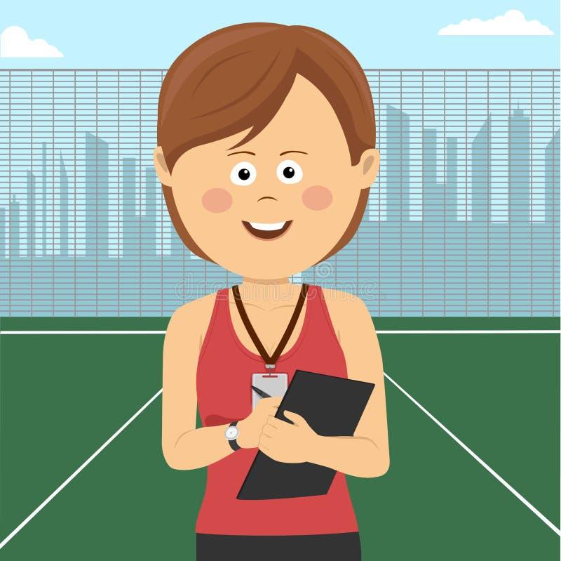 O treinador fêmea novo está no campo de jogos da escola ilustração royalty free