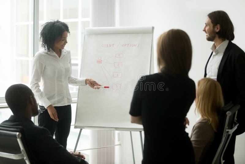 O treinador ou o diretor de marketing africano dão-me a apresentação na equipe fotos de stock