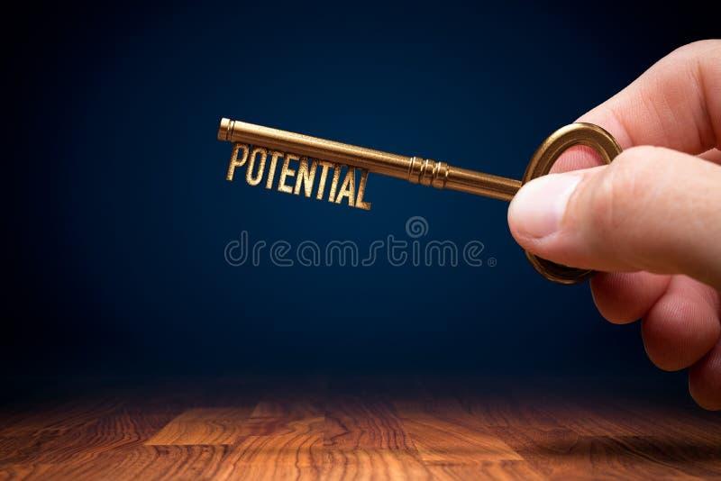 O treinador tem uma chave para liberar o potencial - conceito de motivação fotografia de stock royalty free