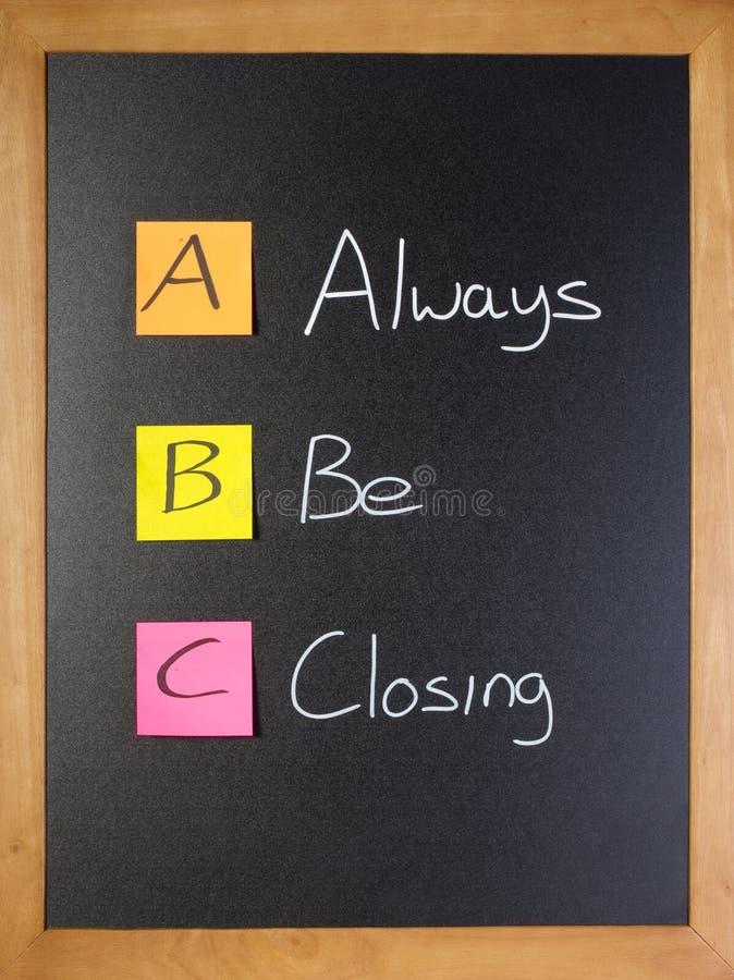 O treinamento de vendas do ABC, sempre esteja fechando-se fotos de stock royalty free
