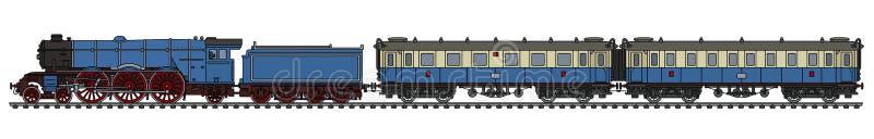 O trem azul do vapor do passageiro do vintage ilustração stock