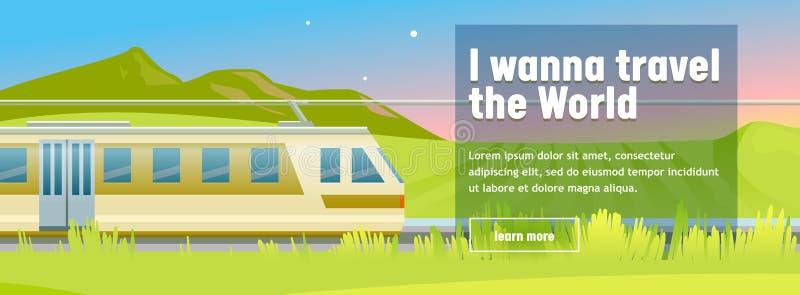 O trem de alta velocidade moderno monta no fundo à moda da montanha Conceito de projeto do curso da aventura do feriado bom para  ilustração royalty free