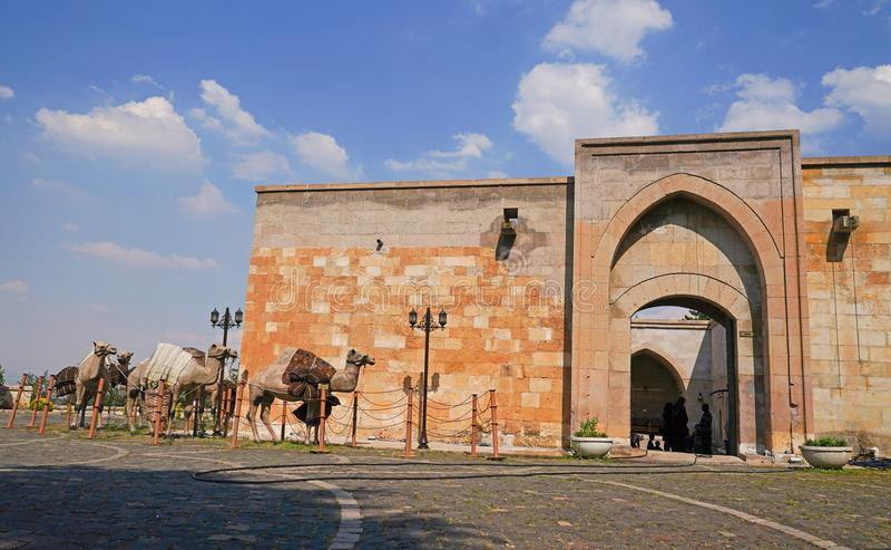 O trem do camelo do conceito chegou a caravançará perto do museu para companheiros da caverna ou dos sete dorminhocos imagem de stock
