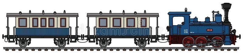 O trem pessoal azul do vapor do vintage ilustração do vetor
