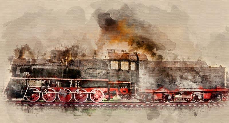 O trem velho ilustração stock