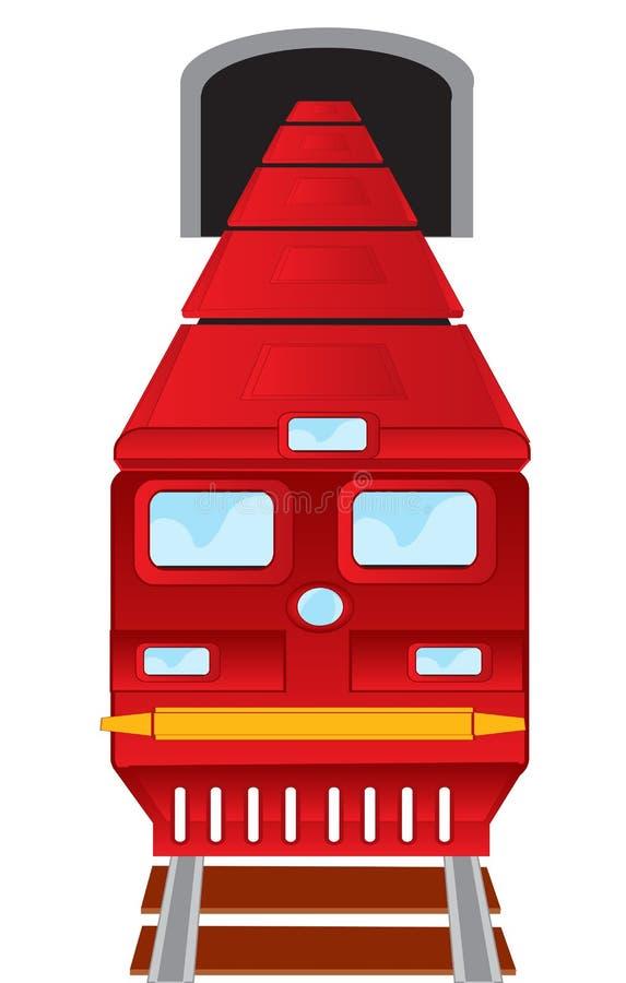 O trem vermelho expulsa do metro ilustração stock