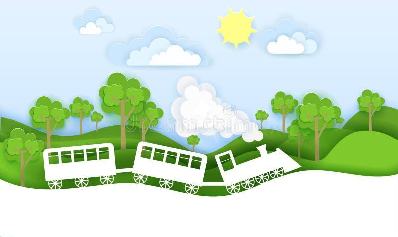 O trem viaja através da ilustração do vetor da floresta no estilo de papel do origâmi da arte Projeto do corte do papel de concei ilustração royalty free