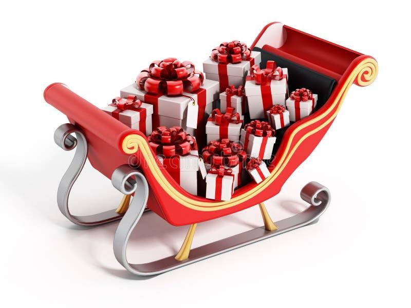 O trenó de Santa completamente dos presentes ilustração royalty free