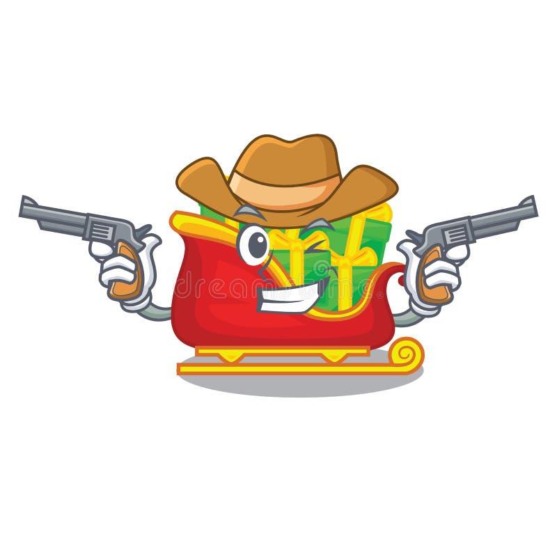 O trenó de Santa do vaqueiro com pilhas apresenta desenhos animados ilustração royalty free