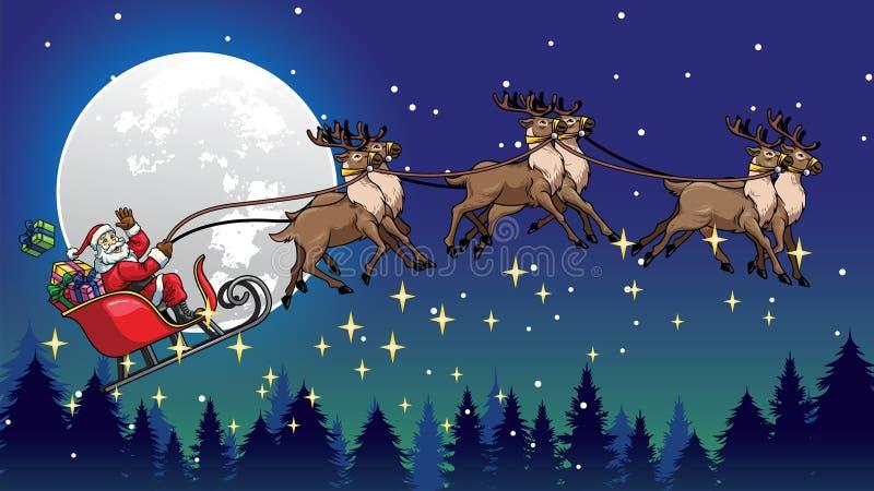 O trenó do passeio de Santa puxou por suas renas sobre a noite ilustração royalty free