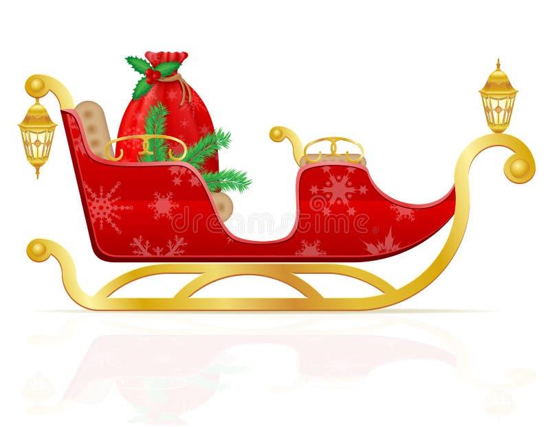 O trenó vermelho do Natal de Papai Noel com presentes vector o illustrati ilustração do vetor