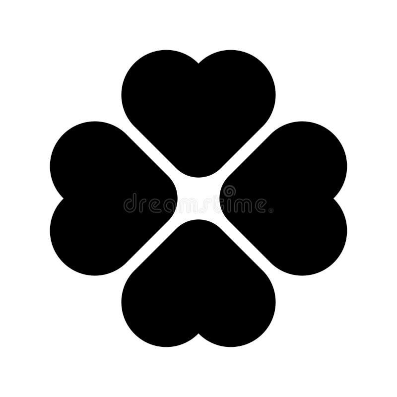O trevo arredondou a silhueta - ícone do trevo da folha do preto quatro Elemento do projeto do tema da boa sorte Forma geométrica ilustração do vetor