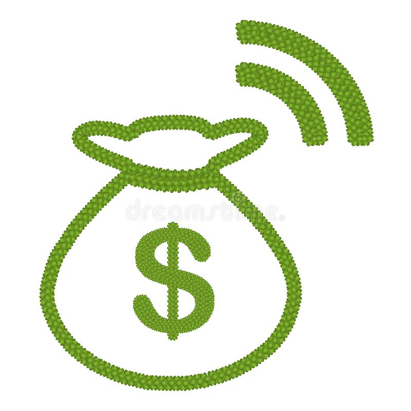 O trevo de quatro folhas do dólar assina dentro o saco RSS do dinheiro ilustração royalty free