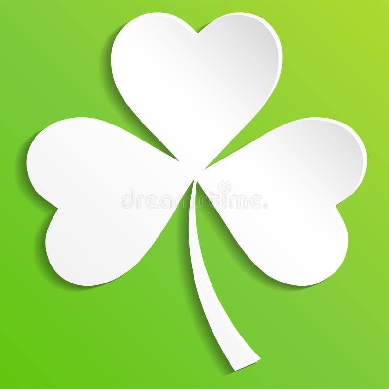 O trevo irlandês sae do fundo para o dia feliz do ` s de St Patrick Eps 10 ilustração do vetor