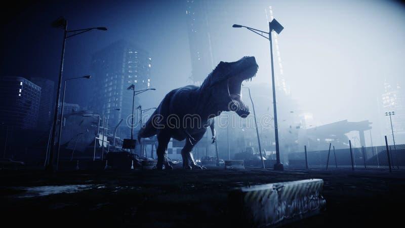 O trex terrível do dinossauro na noite destruiu a cidade Conceito do apocalipse rendição 3d ilustração stock