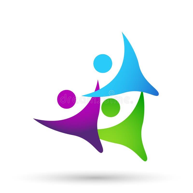 O triângulo abstrato deu forma da união da equipe a executivos do logotipo do trabalho, união em incorporado investe o projeto do ilustração royalty free