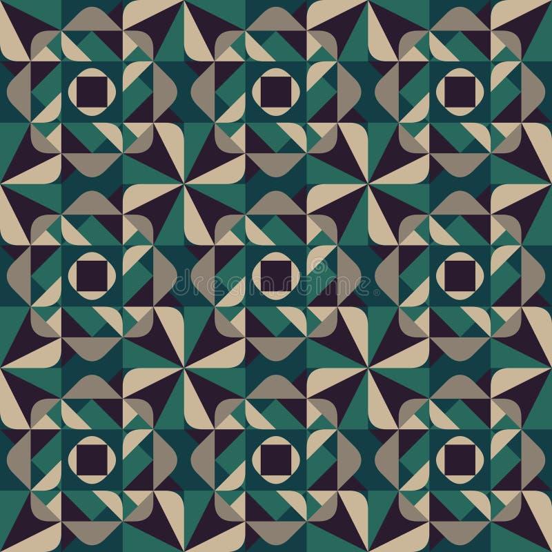O triângulo arredondado geométrico sem emenda do vetor dá forma a Grey Pattern Dark Background verde quadrado ilustração stock