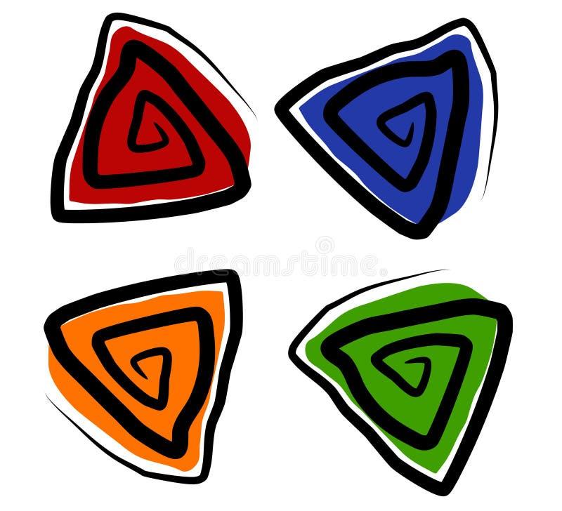 O triângulo espiral dá forma a ícones ilustração royalty free