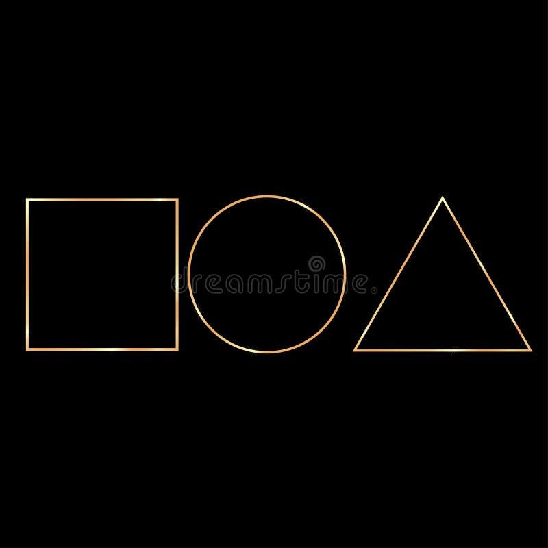 o triângulo quadrado dourado do anel figura o fundo escuro ilustração do vetor