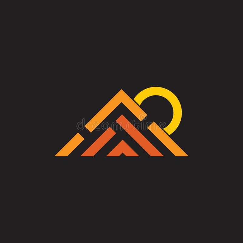 O triângulo simples do sol básico da montanha de CMYKcolorful listra o vetor geométrico do logotipo foto de stock royalty free