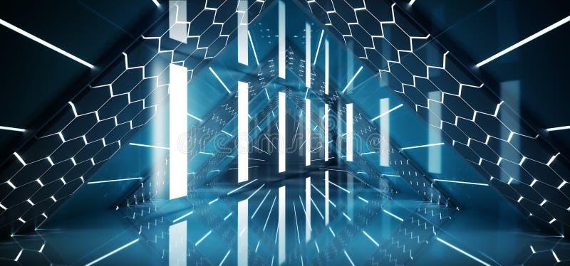 O triângulo vazio de incandescência azul de néon fluorescente Sci Fi do navio interior futurista do laser deu forma ao corredo ilustração do vetor