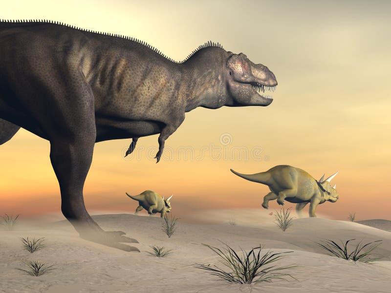 O Triceratops que escapa do tiranossauro 3D rende ilustração royalty free