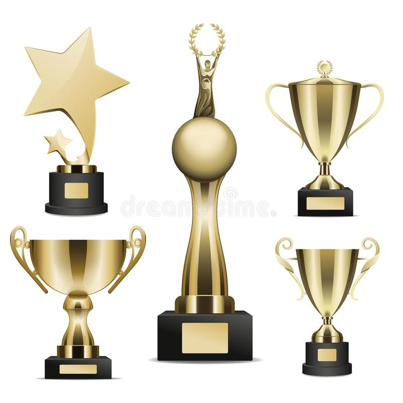 O troféu dourado coloca a coleção realística do vetor ilustração stock