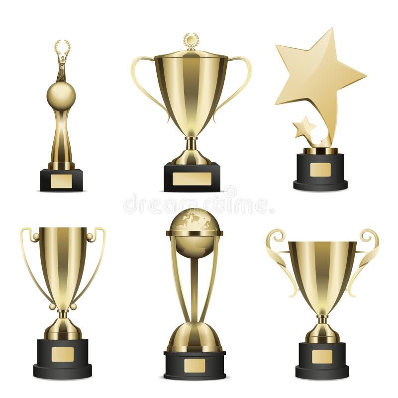 O troféu dourado coloca a coleção realística do vetor ilustração royalty free