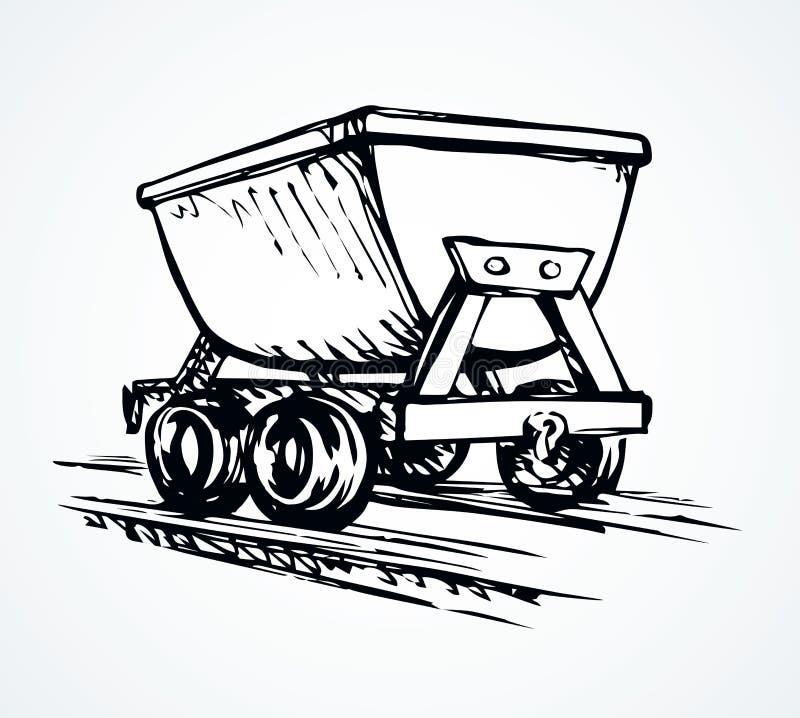 O trole do mineiro do ferro Desenho do vetor ilustração royalty free