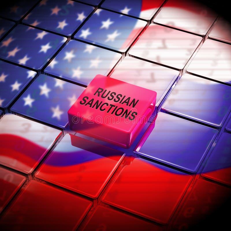 O trunfo Rússia aprova o embargo financeiro na Federação Russa - ilustração 3d ilustração do vetor