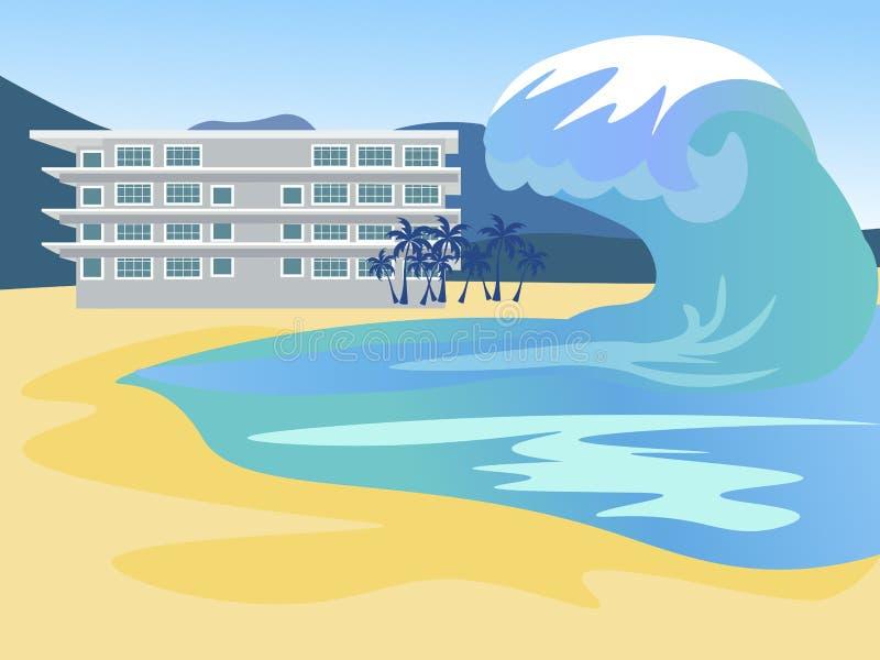 O tsunami cobre a cidade Inunda??o global No vetor liso dos desenhos animados minimalistas do estilo ilustração stock