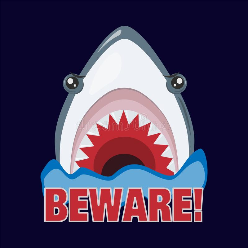 O tubarão ameaça atacar Dentes afiados Ilustra??o do vetor ilustração stock