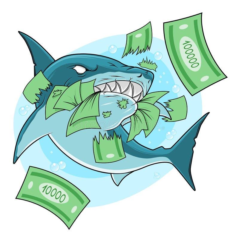 O tubarão come o dinheiro ilustração do vetor