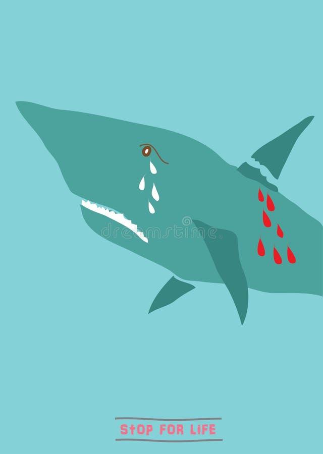 Salvar o tubarão ilustração stock