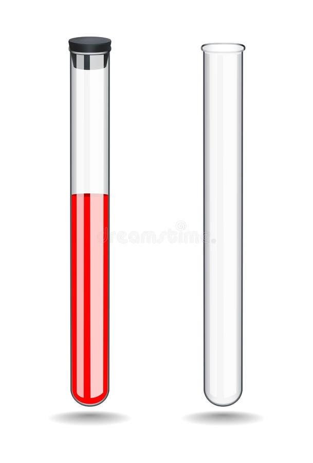 O tubo de análise laboratorial de vidro com sangue é fechado com um bujão de borracha Tubo vazio sem líquido Qu?mica, biologia ilustração stock