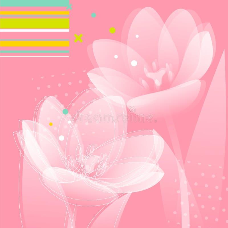 O Tulip floresce o fundo ilustração do vetor
