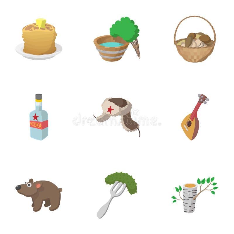O turismo em ícones de Rússia ajustou-se, estilo dos desenhos animados ilustração royalty free