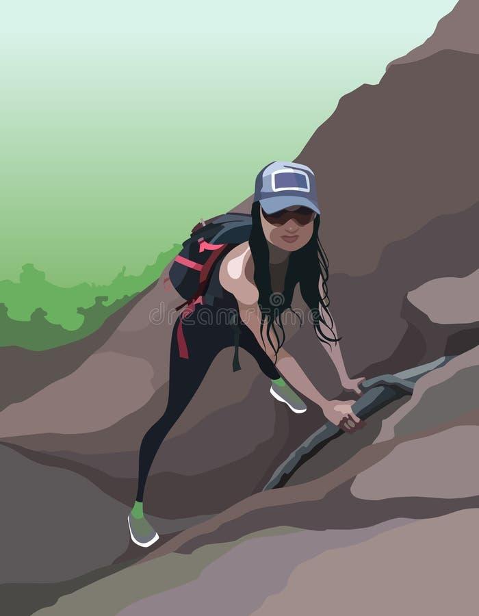 O turista da mulher dos desenhos animados com uma trouxa escala uma montanha ilustração do vetor