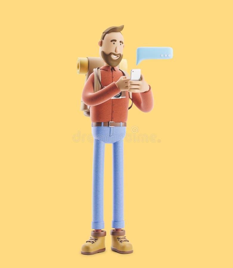 O turista do personagem de banda desenhada escreve uma mensagem no telefone ilustração 3D ilustração stock