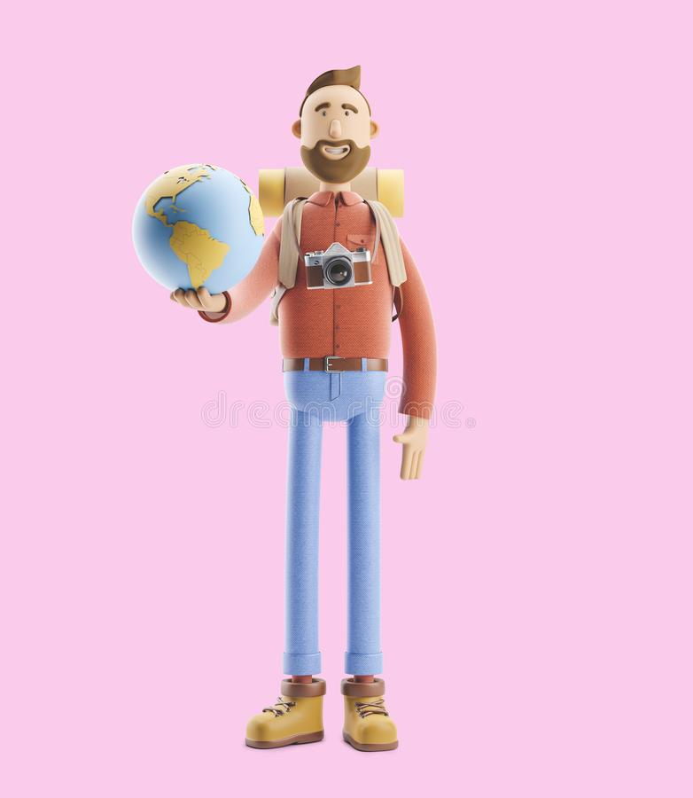O turista do personagem de banda desenhada está com um grandes ponteiro e globo do mapa ilustração 3D Conceito da viagem ilustração do vetor